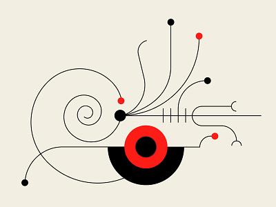 Plankton 1 fish shells plankton nautilus vector art vector red black graphic  design design geometric illustration