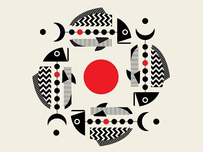 Caviar repeat pattern fish design red black vector geometric illustration