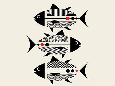 TORO TORO TORO tuna sushi design branding fish vector artwork patterns beige red black vector geometric illustration