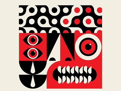 Creative Block beige icon branding vector red black design geometric illustration