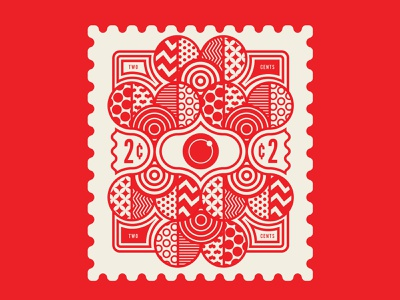 Our 2¢. Stamp 7 red badge design stamps stamp design patterns branding identity geometric design illustration