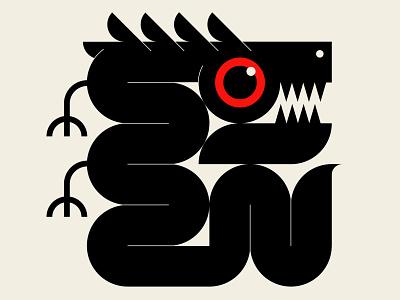 Modernist Primitives minimalist modernism snake dragon red black geometric illustration