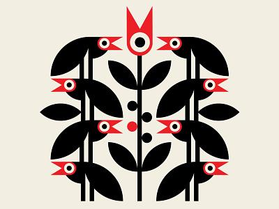Crowbar abstract design identity branding design geometric santa monica birds vector red black illustration