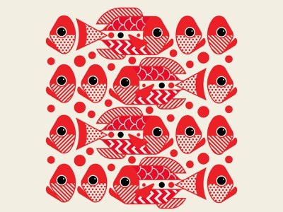 Fish Heads Heads Heads design branding los angeles trufcreative abstract art repeat pattern fish geometric red illustration