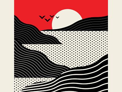 West Coastal santa monica sunset trufcreative seascape coast ocean sea branding identity abstract design black red design geometric vector illustration