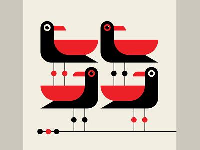 Gullwing identity branding trufcreative seagulls abstract design birds geometric black red vector design illustration