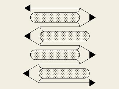 Innuendo identity beige black opart pencils vector design geometric illustration