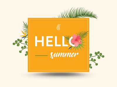 Hello Summer hello flowers vector typography design illustration hello summer