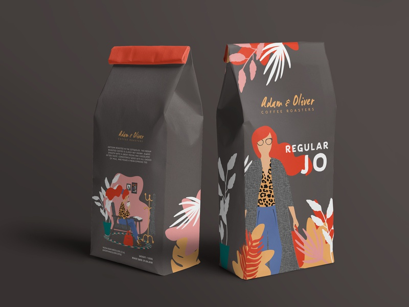 Adam & Oliver Coffee Roasters illustration design print brand identity illustraor artisan coffee roaster coffee bag coffee packaging lettering typography branding vector design logo illustration