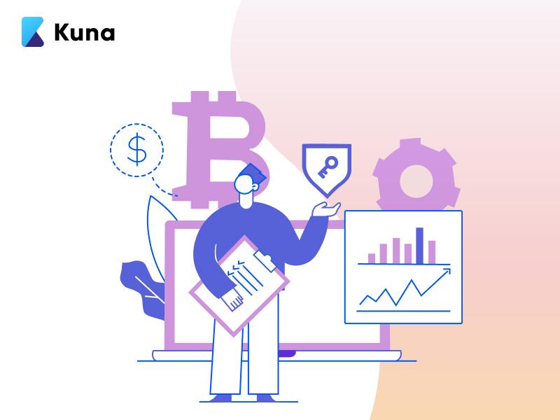 Illustration for Kuna Echange logo brand ui adobeillustration illustration graphic design