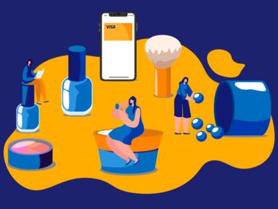 illustration cosmetics for Visa Kazakhstan