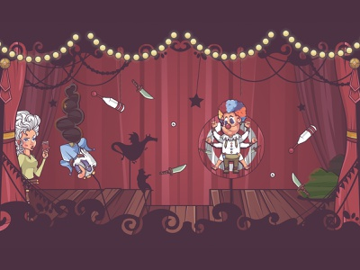 circus coulisse lady claun characters illustrator flag nomads lights theatre cinema stage illustration character design character game design cartoon gypsy circus game erdir oh