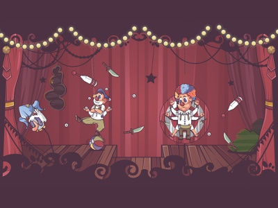 circus haloween stars illustrator circus jester coulisse lights theater design theatre cinema stage joker clown illustration character design character game design cartoon game erdir oh