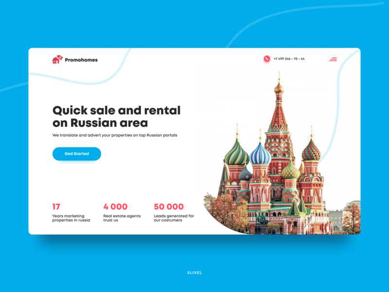 Quick sale of real estate and rent in Russia realestate area russian rental webdesign website ux ui design webdesigner slixel freelance figma