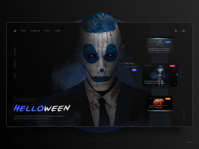 Website concept, a collection of various horror stories concept stories horror clown site uiux webdesign web design website ux ui webdesigner slixel figma helloween