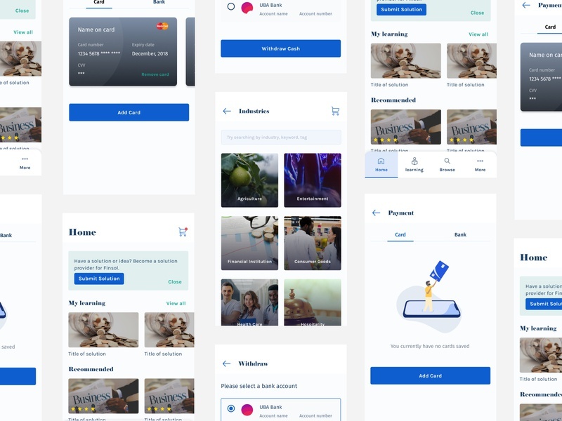 Finsol empty screen empty state figmaafrica figmadesign figma blue bottom nav card cards ui payment mobile app design mobile ui mobile design mobile app learning platform learning app learning education app educational education