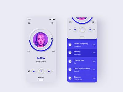 UI Music Player App neumorphism neumorphic design soft music player music app ui design ui