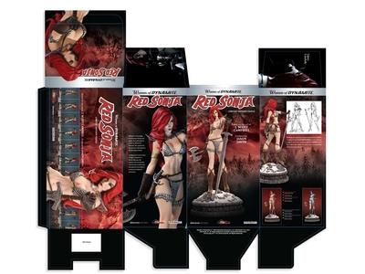 Package Design: Women of Dynamite - Red Sonja Statue