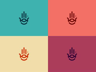 Hamsa eye logo hand