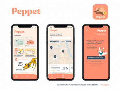 Peppet - Live with your pets pets pet design flows ui design ux app ui
