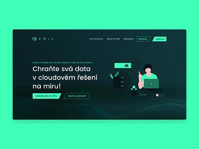Frij - Early Exploration data backup cloud logo branding web dark typography website design webdesign ux ui