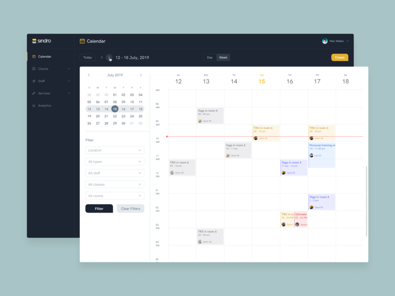 Sindro - Business App event appointment gym fitness dark schedule calendar portal admin app business ux ui