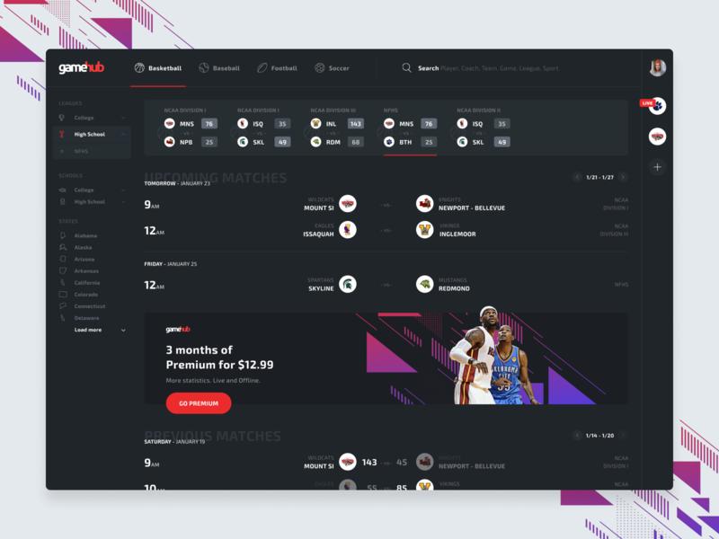 Gamehub - Tracking Platform live dark score statistics school product analytics basketball sport tracking portal admin app design ux ui