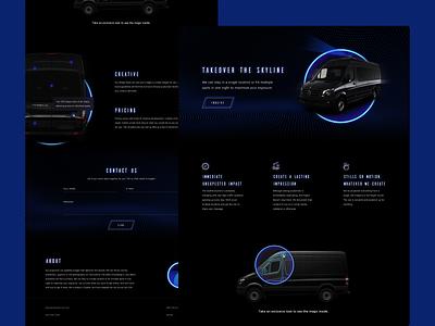 Projection Van web minimal simple microsite landing page sky van projection dark webdesign branding website design ux ui