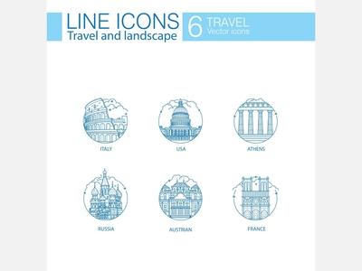 Travel an landscape line icons