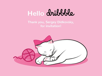 Hello Dribbble! illustration cat hellodribbble dribbble kitty hello