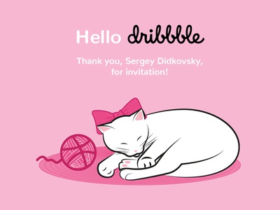 Hello Dribbble! illustration cat hellodribbble dribbble kitty hello
