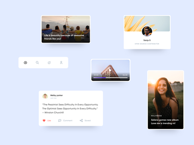 Minimal Mobile - Cards Components newsapp flat cards design field form font icons uidesign profile material component design component library components cards mobile ui app ui clean minimal cards ui