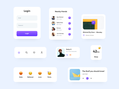 Minimal Mobile Components cards ui interface uidesign web symbol sketch library uikit ux ui mobile elements components cards