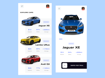 Hype Cars - Car Booking App color typography minimal branding electric car taxi booking app car app clean uidesign uxdesign app ux ui