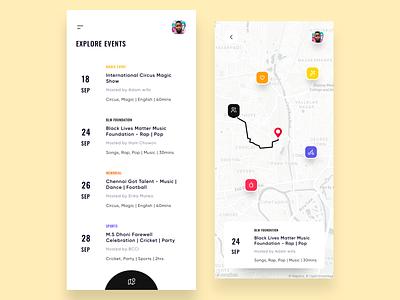 Nearby Events App map ui app concept app ui clean ui event events app mobile ui mobile app design mobile app app design app