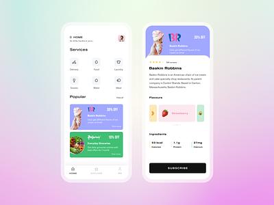 Subscription Service App cards typogaphy icons uidesign ux clean subscription box service app minimal mobile ui uxdesign ui app