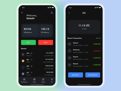 Cryptocurrency Application - Matoshi payment app ux ui trading app trading money mobile ios interface finance ethereum crypto wallet cryptocurrency crypto clean wallet blockchain bitcoin application app
