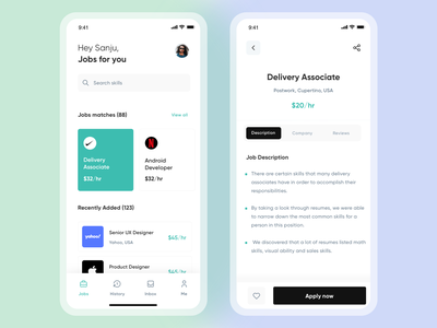 Job Finder App marketplace job search card ui web design social app product mobile app jobs job lisiting job finder app job finder job board job ios app hiring platform dashboard app clean ux ui app