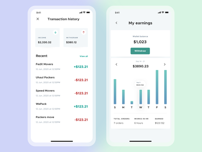 📦 i-Move - My Wallet & Earnings chart uxdesign uidesign ui cards tracker app crypto wallet ui  ux clean on demand app money app bank app f22labs creative design booking app product movers app courier service wallet app