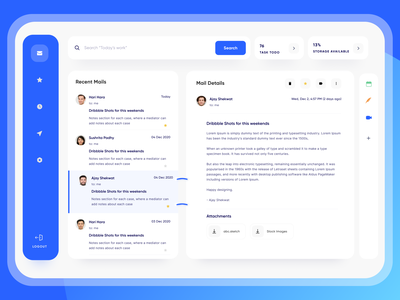 ✉️ Goomail - Minimal Email App 😍 f22 labs project management task manager dashboard design mail app app typography icon uxdesign uidesign minimal elements component dashboard ui gmail clean ux ui