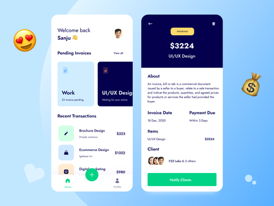 Inwillo |  Invoicing and Money Management App 🧾 money management money transfer invoice design payment form f22labs crm software payment method payment app icon dashboard ui mobile ui uidesign invoice app invoice clean minimal ux uxdesign ui app