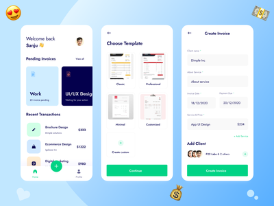 Inwillo | Invoicing and Money Management App 🧾 inspiration f22labs interface ui  ux minimal client management invoice design dashboard ui freelance design money management money transfer money app invoice app clean ux mobile ui uxdesign ui app