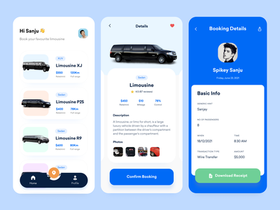 Limousine Rental App 🚘 f22labs spikey sanju on demand app components rental app car booking app uxdesign uidesign minimal clean ux ui app