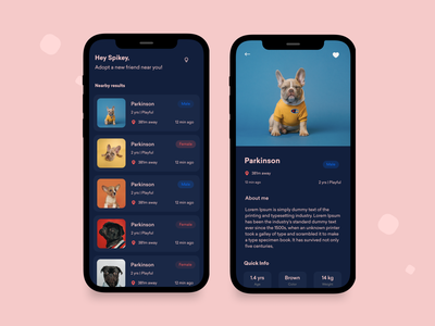 Pet Adoption App vetcare app design product design design colors concept clean minimal app animals pets dogs petshop petcare pet adoption ui ux