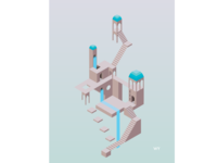 Isometric illustration inspired by Monument Valley
