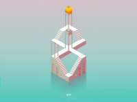 Isometric illustration inspired by Monument Valley 2