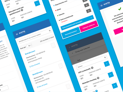 Acerta mobile user interface wireframes ux ui