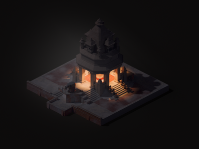 Mangachu - Overwatch Nepal Shrine night night lowpoly isometric overwatch mangachu 3d