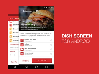 Dish - Menu Item screen