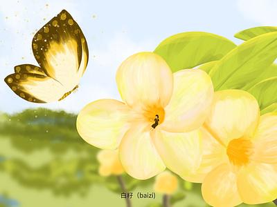 2020.6.10  Wednesday  Recent works flower butterfly design illustration